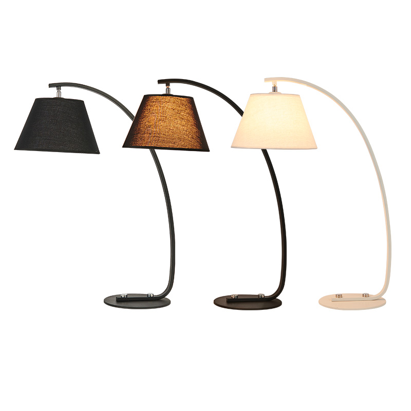 Kung Simple modern style desk lamp Nordic creative table light black white body fabric lampshade E27 lamp 3W white free shipping horn shape creative pendant light black white kung brand nordic led droplight globe branching nordic art style decoration
