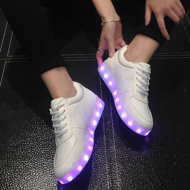 ขนาด 27-42 เด็ก USB รองเท้าผ้าใบส่องสว่างสำหรับสาวเด็กผู้หญิงรองเท้า Led รองเท้าเรืองแสงรองเท้าผ้าใบ Krasovki backlight