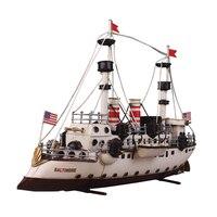 Modellbau Kits Schiffsmodell Eisenblech 1: 100 Skala Eisenblech Segelboot-modell Harvey Segeln Montiert Kit DIY schiff