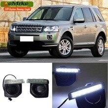 eeMrke Car LED DRL For Land Rover Freelander 2 LR2 L359 2006-2014 Xenon White DRL Fog Cover Daytime Running Lights Kits