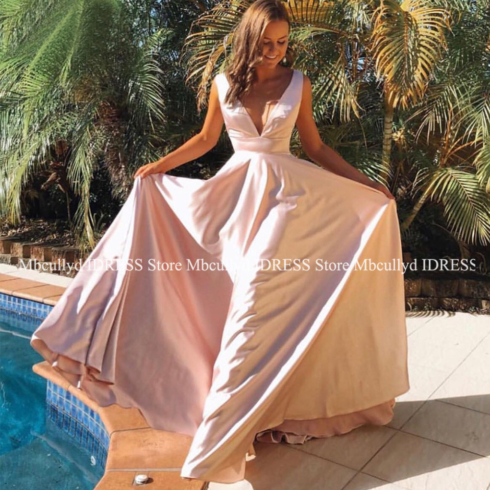 Sexy A Line V Neck Backless Satin   Prom     Dresses   2019 Elegant Backless Floor Length vestidos de fiesta de noche Pink Evening   Dress