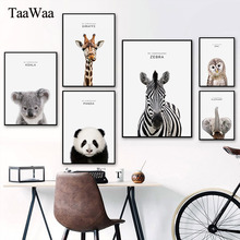 Animals Canvas Art Posters Elephant Rabbit Dog Sheep Lion Nursery Painting Print Nordic Wall Picture for Living Room Decoration