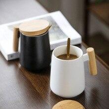 الشمال جديد تصميم بسيط أبيض أسود السيراميك أكواب القهوة مع مقبض خشبي 480 مللي أكواب المياه للأعمال هدية الحديثة نمطالأقداح