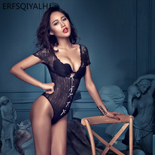Bow Bodysuit for Women Erotic Deep V Perspective Body Lace Sexy Lingerie Open Crotch  One Piece