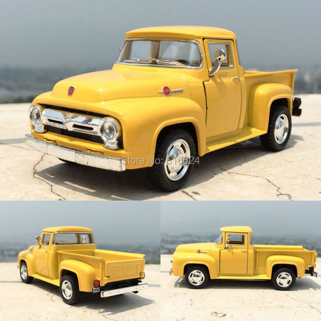 5'' 12cm 1956 Ford Pickup 1:34 Alloy Kinsmart Diecast model toy cars for boys, Doors Openable&Pull Back Birthday Xmas gift