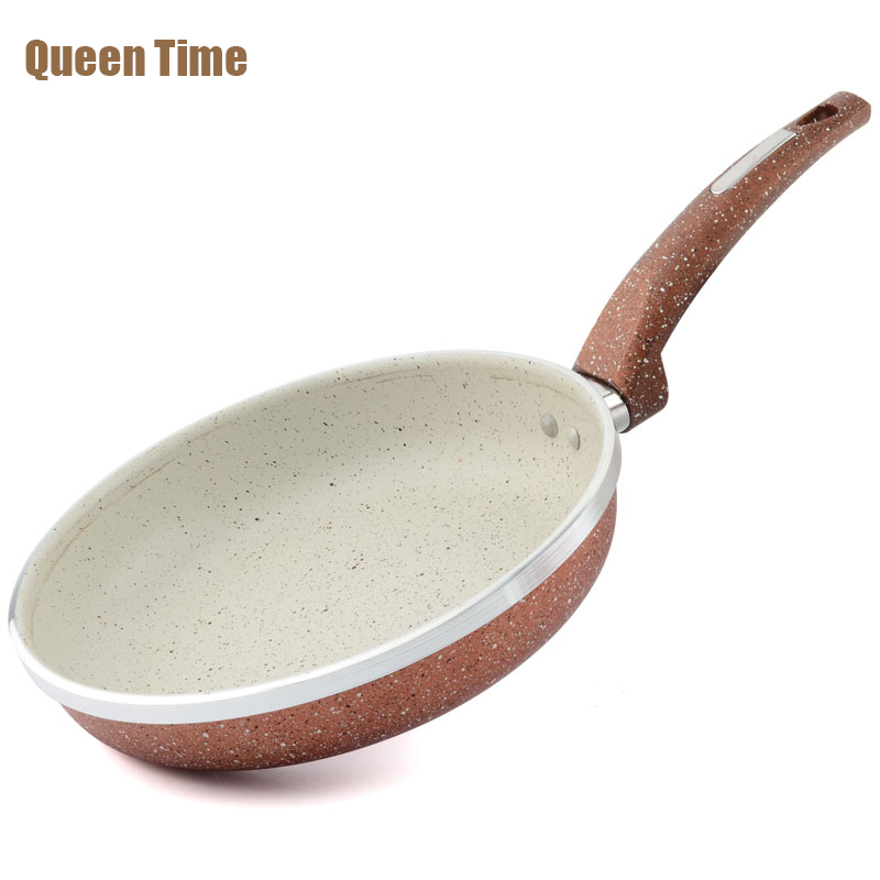 QueenTime Non-stick Egg Crepe Cake Grill Pan Fries 8.5 Frying Pan With Heat Resistant Grip Gas Cooker Dishwasher Cooking Tools