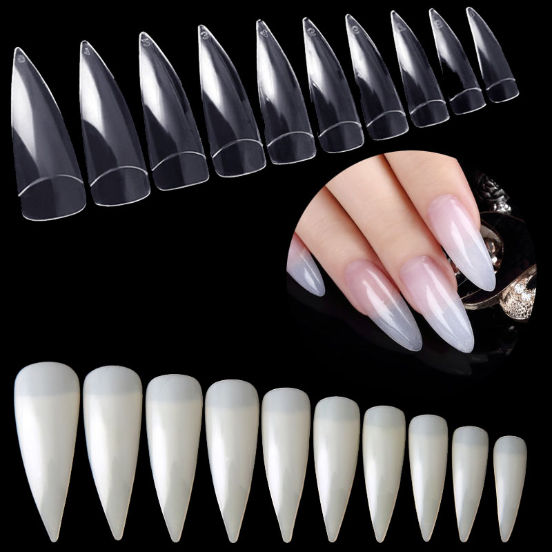 600 Pcs Lot Professional Salon Stiletto False Nail New Claw Shape Curved Fake Nails Art Tips Press On Finger Tools Natural In From Beauty