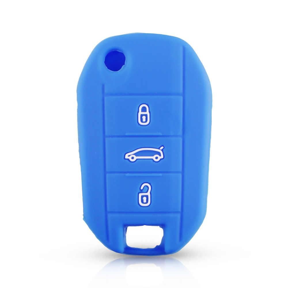 Dandkey 3 Bottoni Cassa Chiave Dell'automobile In Silicone Borsette Per Citroen C4L CACTUS C5 C3 C6 C8 Picasso Xsara Per Peugeot 3008 308 RCZ 508