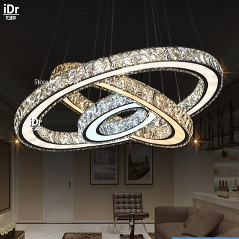 Stainless steel round led circular living room dining modern minimalist hotel rooms Chandeliers XXT 009