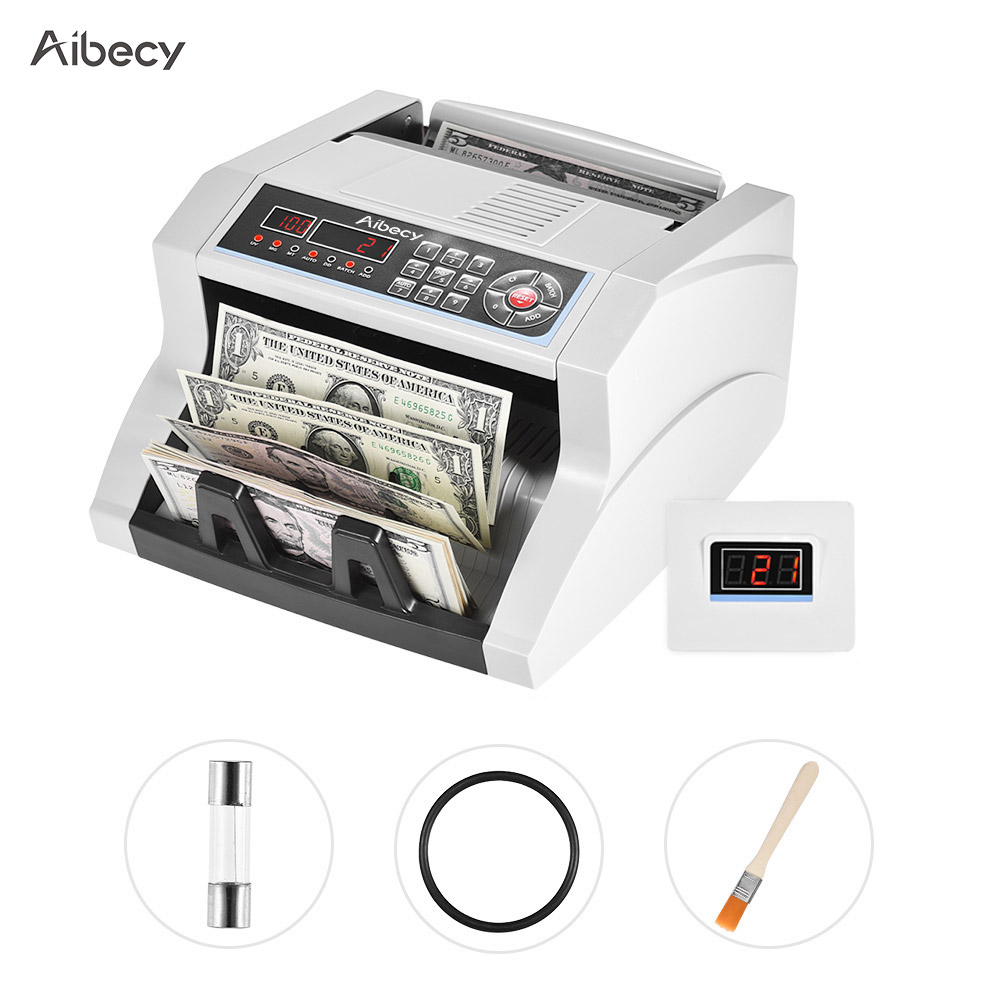 Aibecy Multi currency Banknote Counter Bill Detector Automatic Money Cash Counting Machine for US Dollar Euro