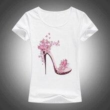Новинка; красивая летняя хлопковая футболка на высоком каблуке с принтом; женские футболки Kawaii; модные повседневные футболки с коротким рукавом в стиле Харадзюку; F27