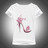 New Beautiful High Heels Printed Summer Cotton T Shirt Women Tops Tees Short Sleeve Fashion Casual