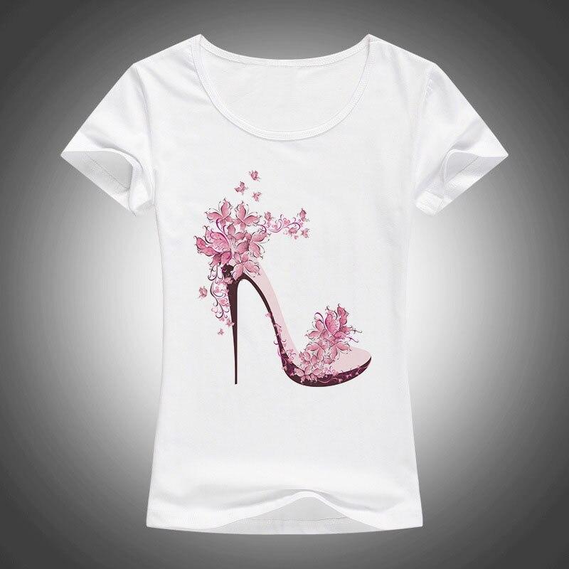 new beautiful High heels printed summer cotton t shirt women tops tees short sleeve fashion Casual T-shirt 1866