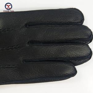 Image 5 - CHING YUN Winter Man Deer skórzane rękawiczki Buckskin męskie ciepłe miękkie męskie czarne wzór fali rękawiczki 70% wełna Lining WZ02