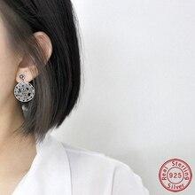 Новые винтажные 925 Серебряные висячие серьги в виде цветка д 'ореиль Висячие серьги для женщин ювелирные изделия pendientes