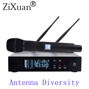High Quality UHF Digital Wireless Microphone, True Diversity Single Handheld Microphone with case for hot selling