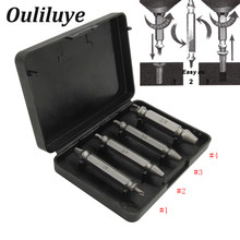 4Pcs Broken Damaged Carpentry Screw Extractor Drill Bits Guide Bolt Out Remover Double Ended Stud Removal Tool With Case