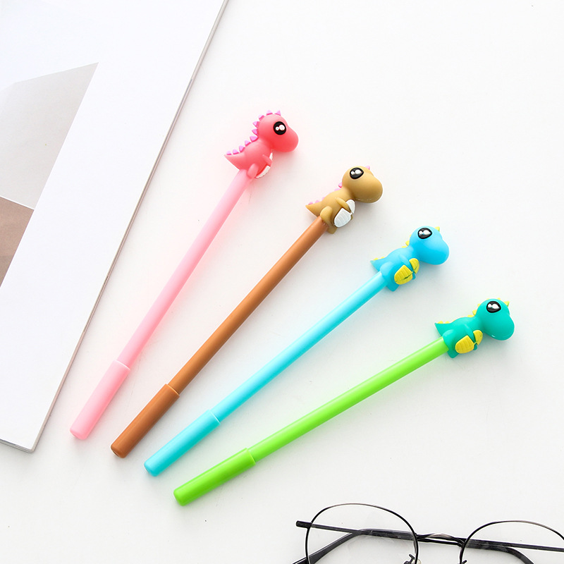 4pcs To Sell Devoted Promotion Activity Free Gifts Pen 0.5mm Black Ink Drip-Dry Cartoon Cute Dinosaur Kids Stationery Writing Gel Pen