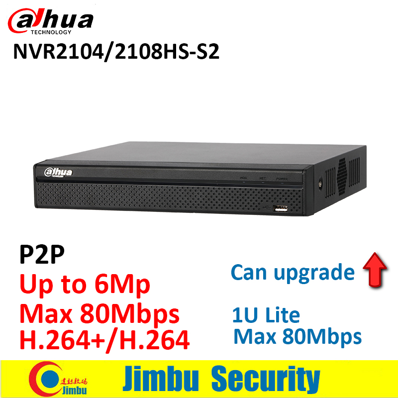 Dahua network NVR video recorder NVR2104HS-S2 NVR2108HS-S2 4CH 8CH Max 80Mbps Up to 6Mp resolution 1U Lite Network Recorder dahua 4ch smart 1u 4poe lite network video recorder english version h 264 h 264 hd 1080p up to 6mp without logo nvr2104 p s2