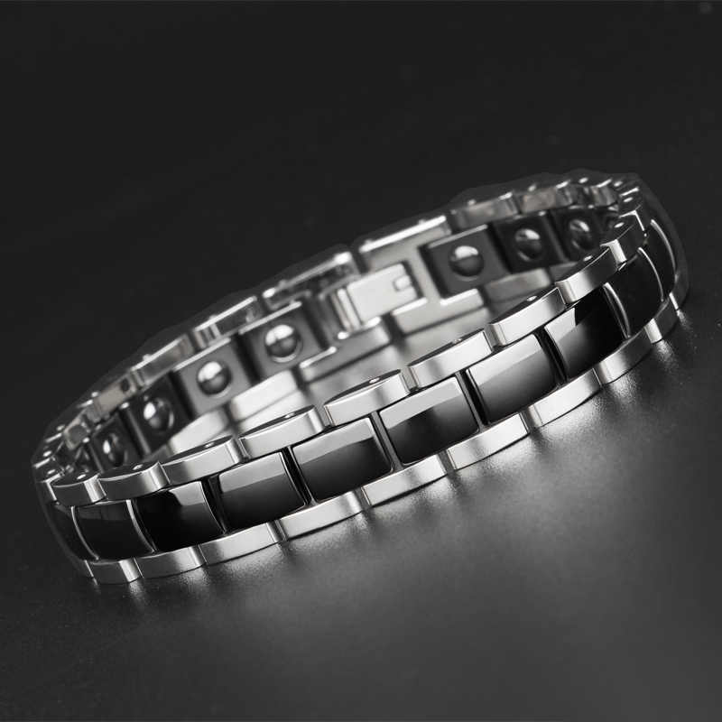 TrustyLan On Sale High Polished 12MM Wide Ceramic Man Bracelet Titanium Steel Mens Bracelets With Healthy Black Germanium Stone