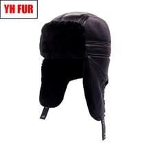 Зимние мужские шапки-бомберы из натуральной кожи, защищающие уши из натуральной овечьей кожи, шапка из натуральной овечьей кожи