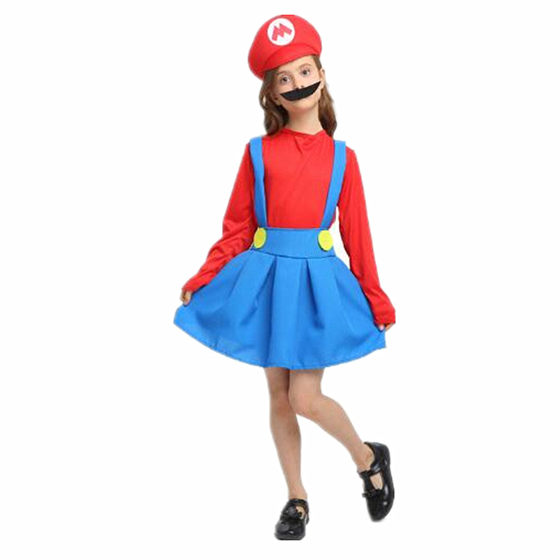 Girl Mario Anime Game Uniform Cosplay Super Mary Halloween Party Costume Mario Funny Holiday Carnival Dress Hat Beard Supplies