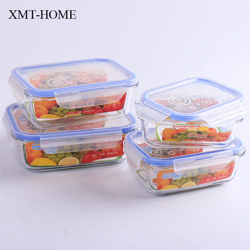 xmthome glass food container microwave oven lunch boxs sealing bowls glass bento box lunchbox