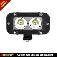 4×4 levou luzes bar 4.6 inch 20 W levou a condução de luz 12 V 24 V Offroad luzes led Estreito Feixe de Lápis Para Carro Caminhão SUV ATV x1pc