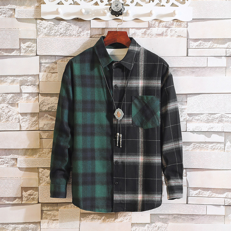 2018 Spring Split Easy Lattice Long Sleeve Shirt The Wind In Hong Male The White Casual Collocation fashion New Arrivals