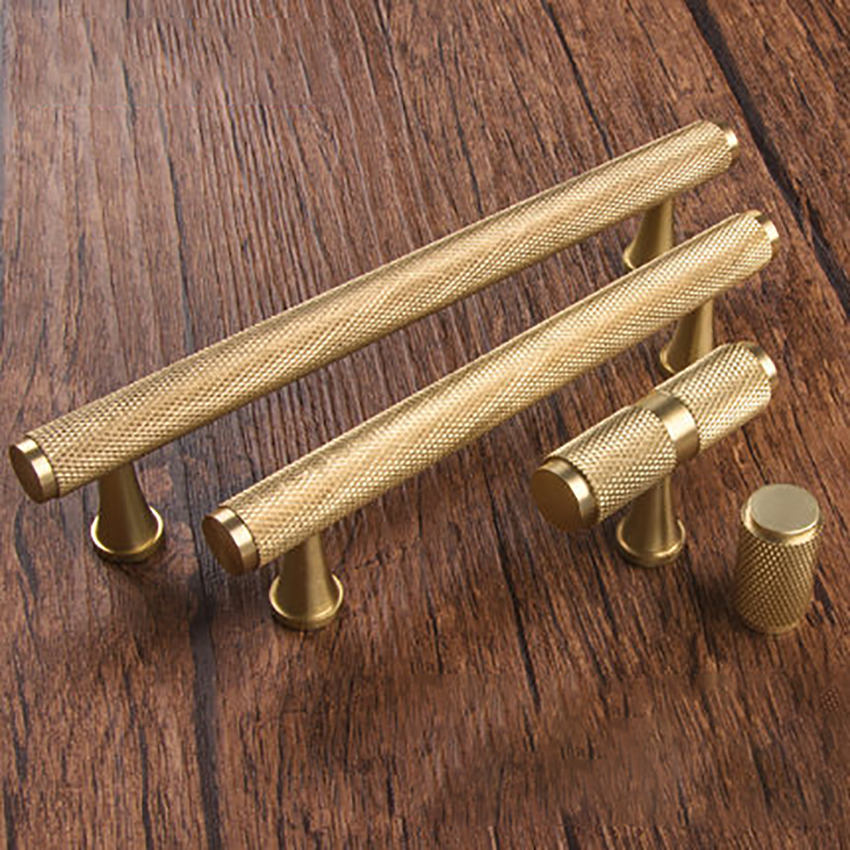 96mm/128mm Gold Knurled Brass Knurled Cabinet Handles And
