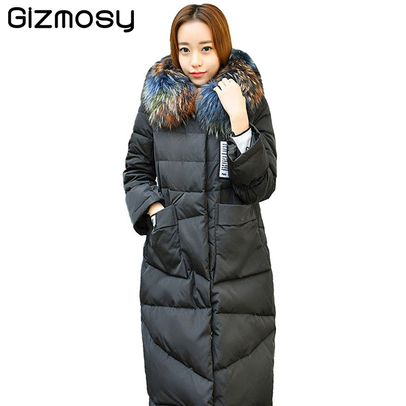 2017 New Arrival Winter Down Coat Women Fur Collar Hooded Parka White Duck Down Winter Jacket Womens Thick Jackets Coats SY1705 womensdate 2017 new arrival winter women 90% white duck down jacket slim short coat plus size duck down purple jackets parka