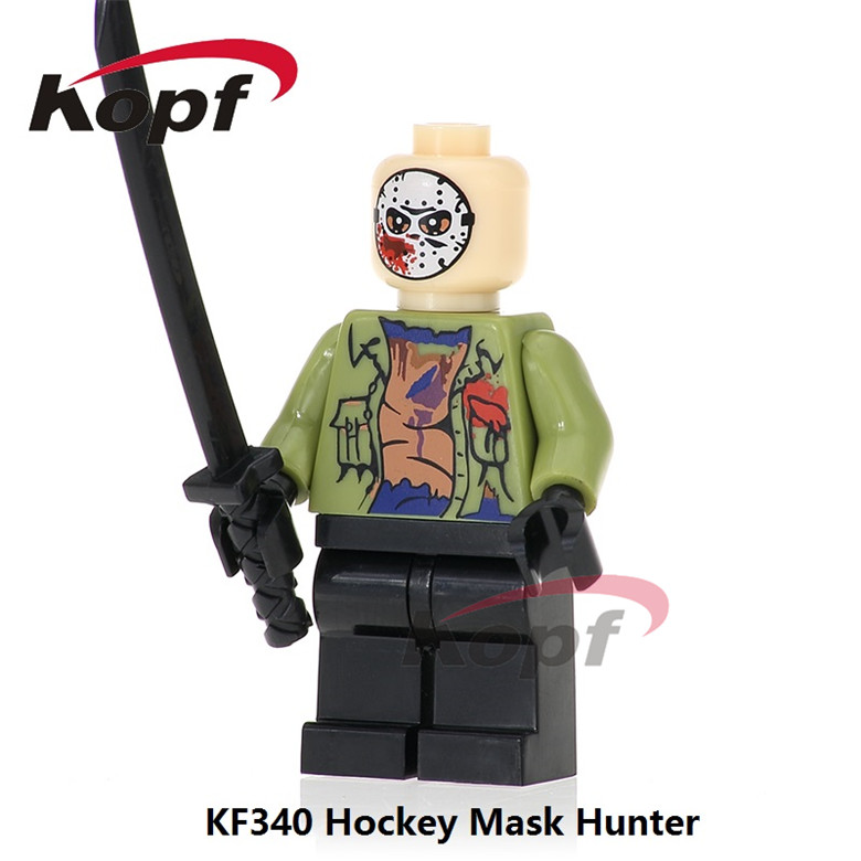 20Pcs Building Blocks The Horror Theme Movie Hockey Mask Hunter - Black Friday Jason Leatherface Bricks Toys for children KF340