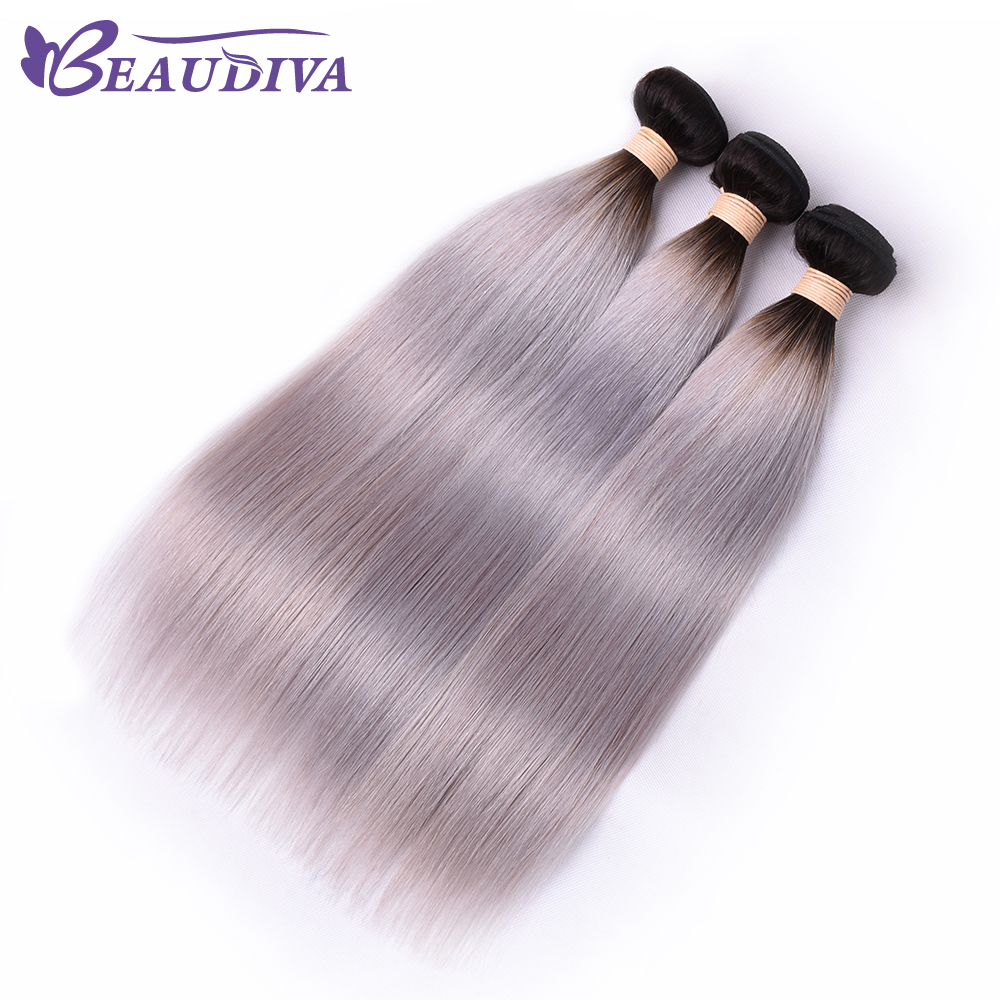 BEAUDIVA Pre-Colored 1B/ Grey Straight Human Hair Ombre Brazilian Human Hair Weave Gray Color Ombre 3PCS Hair Extensions