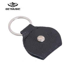 Image 1 - 100 pcs Top Quality Guitar Pick Holder Genuine Leather Guitarra Plectrum Case Bag Keychain Shape Guitar Accessories