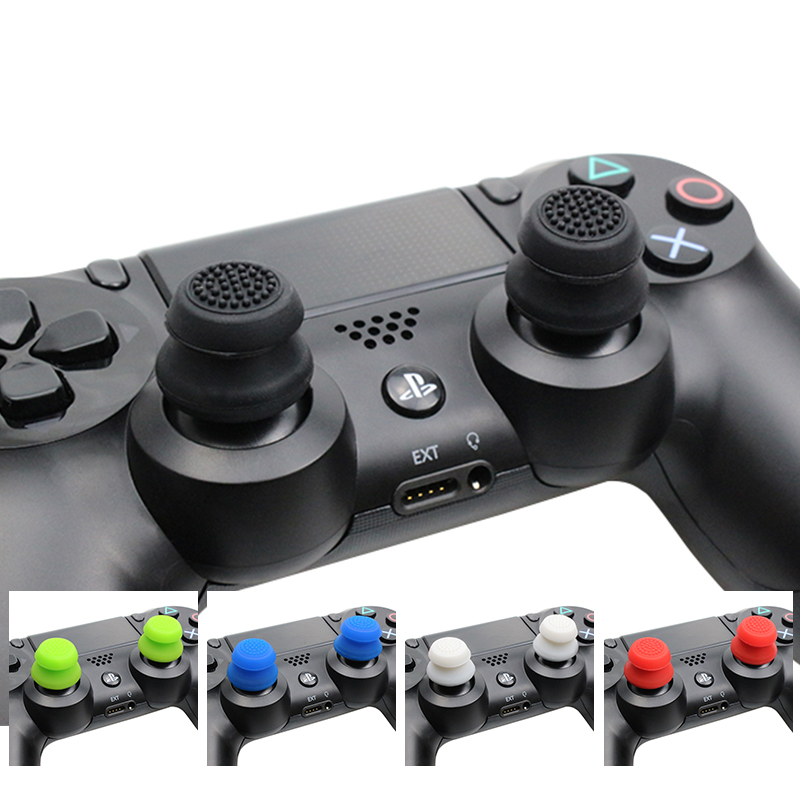 2 PCS Silicone Analog Grip Thumbstick  Extra Cover High Enhancements Thumb Sticks For Dualshock 4 PS4 Pro Slim Controller