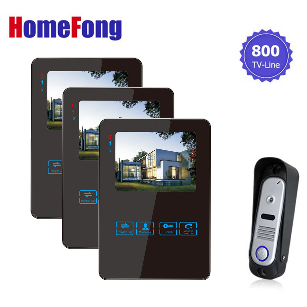 Homefong 4 Inch  Colorful LCD Touch Screen Video Doorbell Video Door Phone Camera Monitor Intercom System Wide Visual Angle 1V3 homefong villa wired night visual color video door phone doorbell intercom system 4 inch tft lcd monitor 800tvl camera handfree