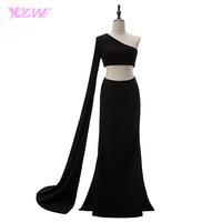 YQLNNE 2018 Sexy One Shoulder Mermaid Prom Dresses Two Piece Black Spandex Long Sleeve Party Dress Vestido De Festa
