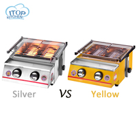 2 burner BBQ Grill Glass/Steel Cover Silver/Yellow Color Adjustable Height Easily Assembled Barbecue Stove