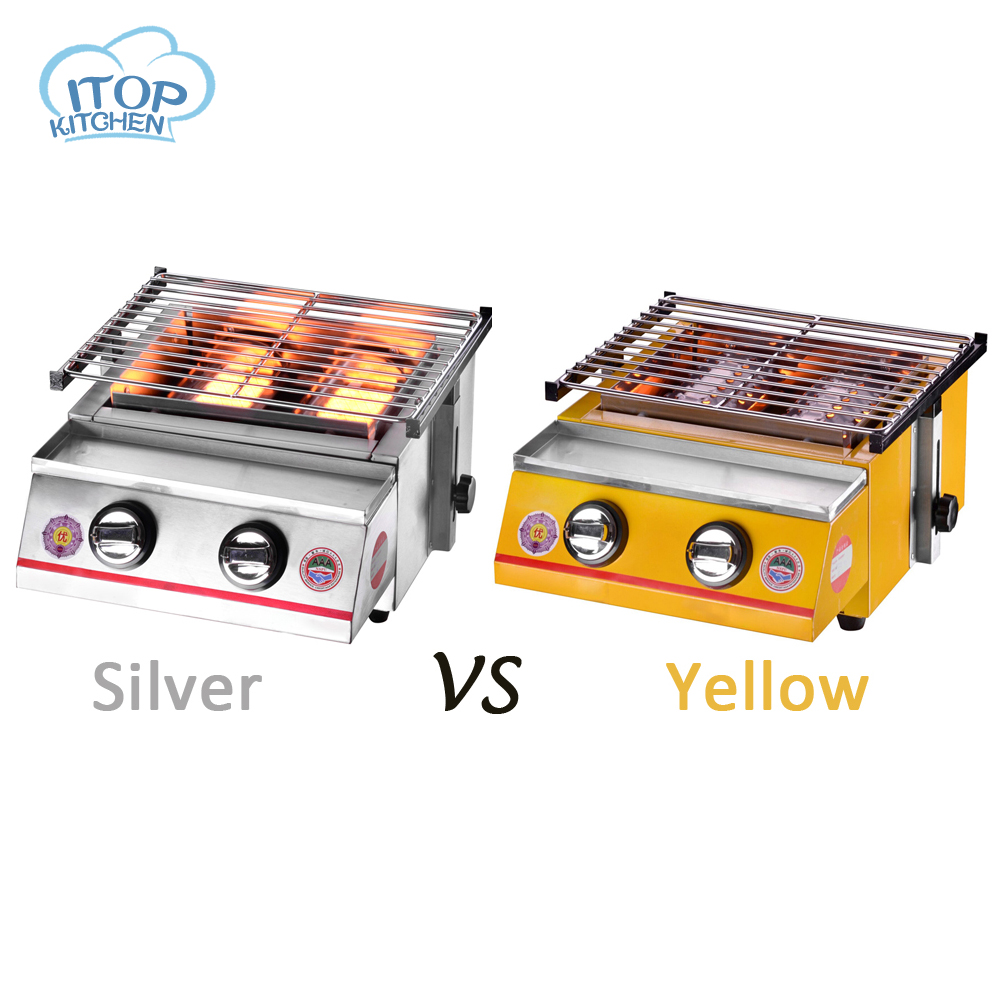 2-burner BBQ Grill Glass/Steel Cover Silver/Yellow Color Adjustable Height Easily Assembled Barbecue Stove