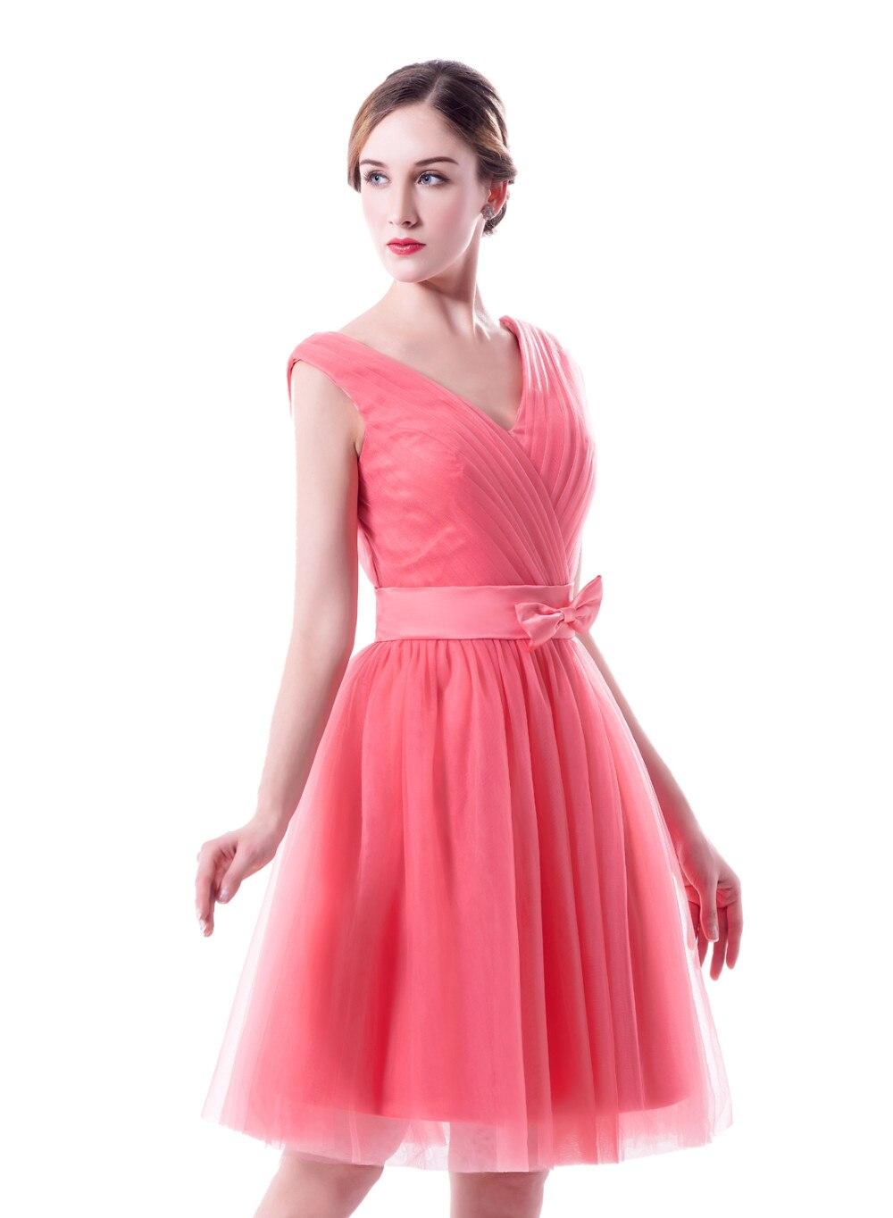 Sandía vestidos de dama de honor corto sin mangas más tamaño 2017 v ...
