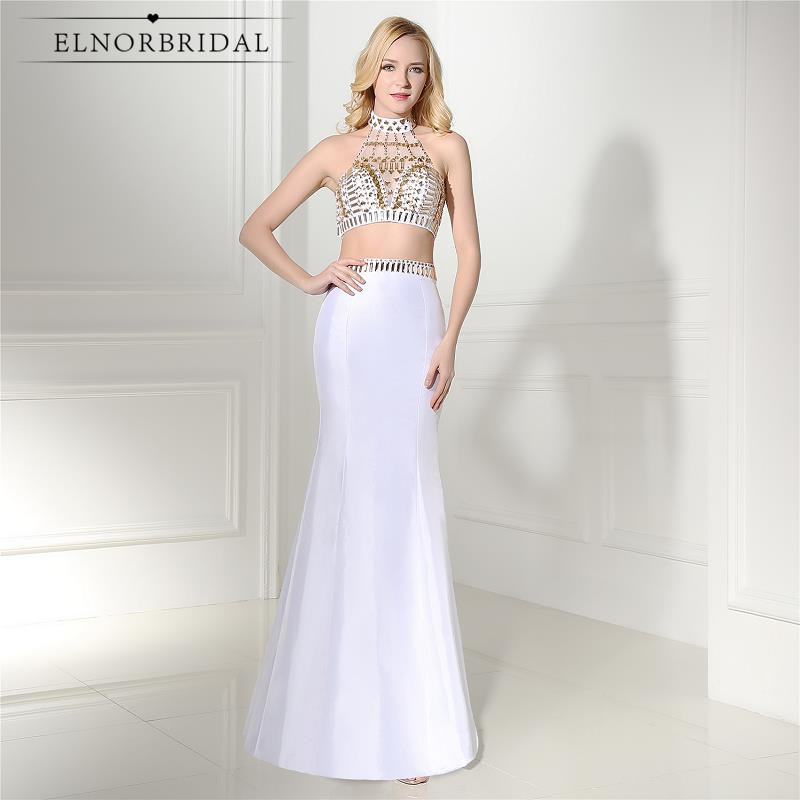 Gold Beading Crystal Evening Dresses Mermaid 2019 Luxury Two Piece Prom Dress Sheer Vestido De Festa Formal Party Evening Gowns