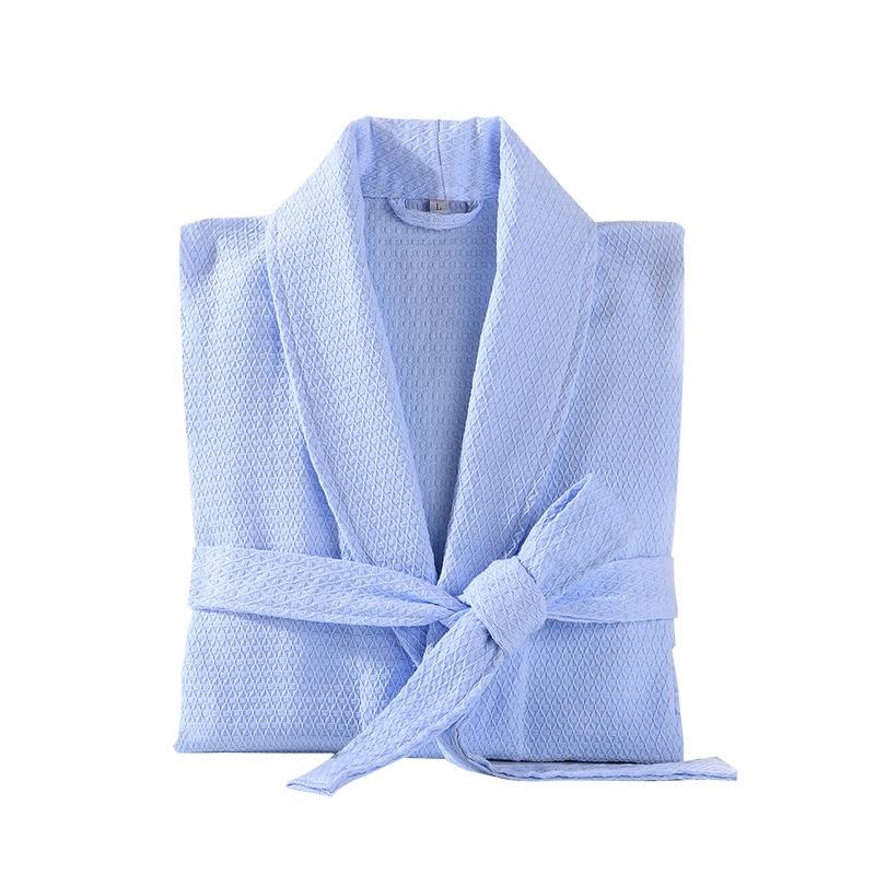 100% Cotton Men Bathrobe Embroidery Waffle Soft Kimono Robe Hotels absorbent Night Dressing Gown pijamas Bridesmaid unisex Robe