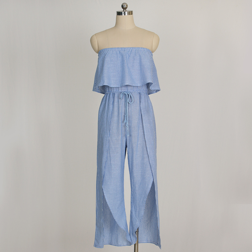 6992731602ea0 IMYSEN Big Size Sexy Jumpsuit Blue Striped Rompers Womens Jumpsuit Slash  Neck Ruffles Split Linen Jumpsuits Woman Hot Sexi Pic-in Jumpsuits from  Women s ...