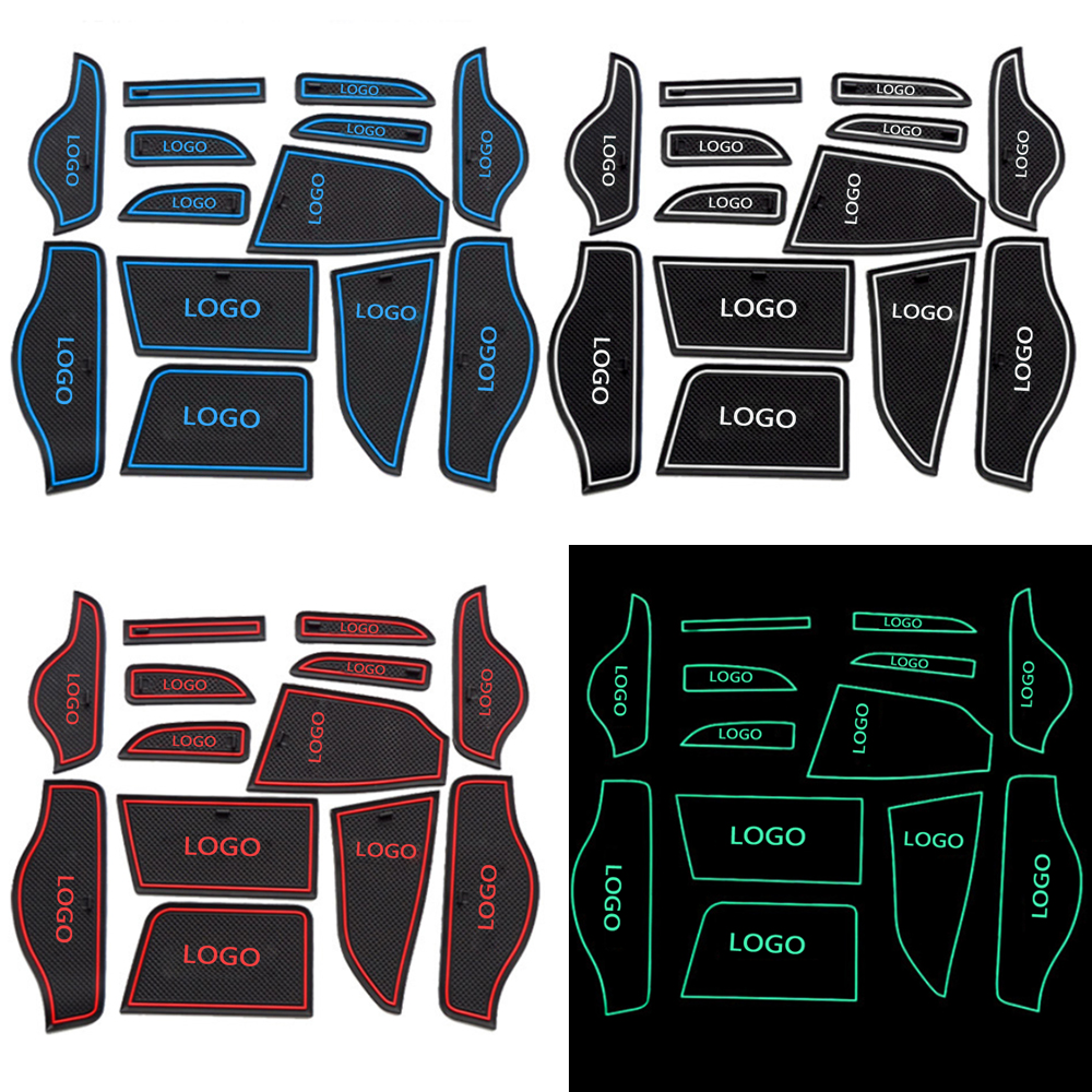 Fit For LIFAN X50 Car Non-Slip Interior Cup Cushion Door Mat Cup Stickers Covers Auto Gate Slot Mats Car Styling 13pcs Per Set