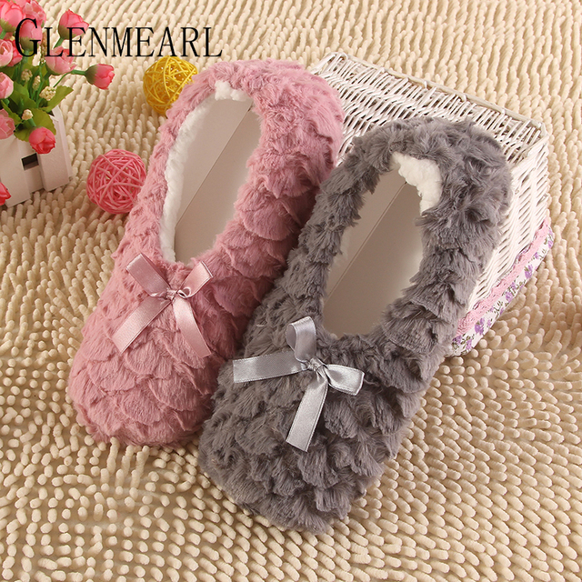2017 Fashion Plush Women Indoor Slippers Warm Soft Pink Grey Indoor/Home Female Slippers Shoes Plus Size Autumn Winter XP35