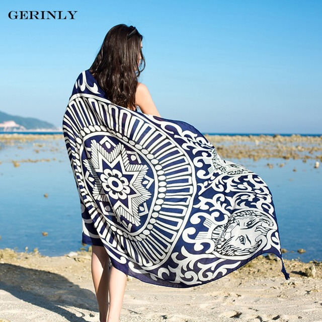 8ddee01632 Lion Printed Beach Wear Cover Up Women Ethnic Scarf Plus Size Waist Sarong  Dress Summer Pareo Beach Bikini Cover Up Fashion Wrap