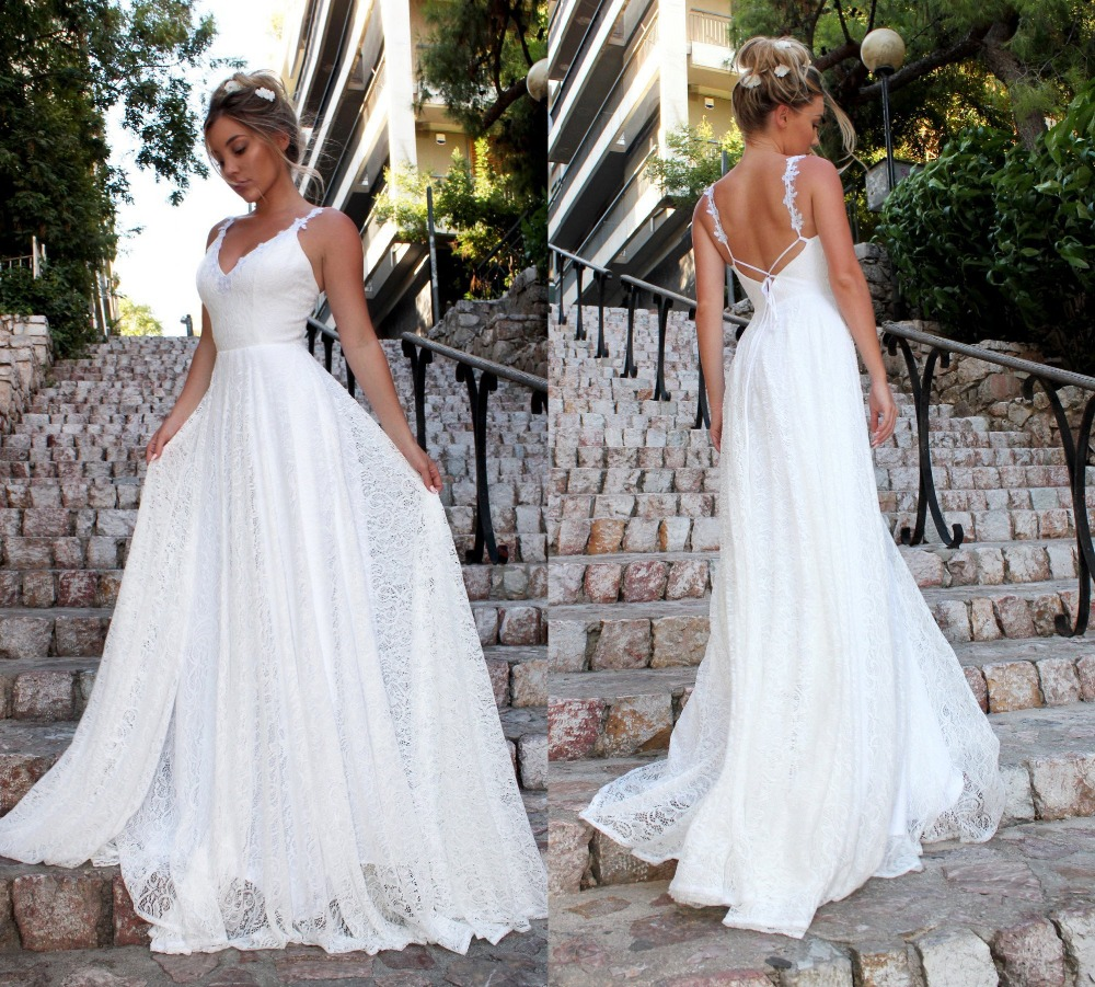 Sexy Boho Beach Long Lace Prom Dresses 2019 V Neck White A-line Party Gown Whit Open Back vestido de fiesta Shippling(China)