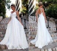 Sexy Boho Beach Long Lace Prom Dresses 2019 V Neck White A line Party Gown Whit Open Back vestido de fiesta Shippling