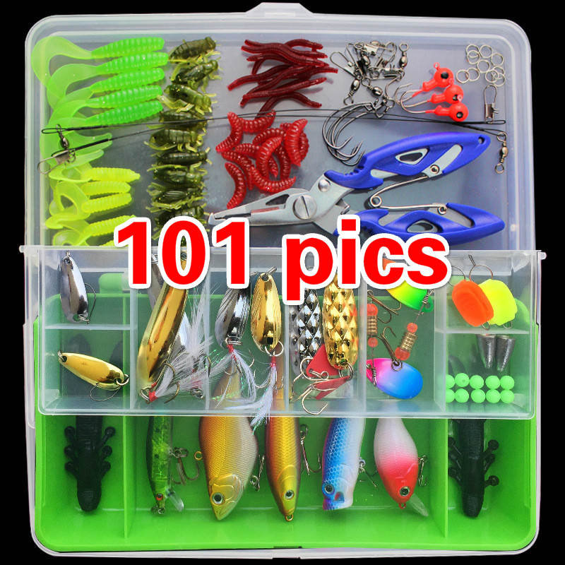 101 Sets of Multi-functional Package Mixed Colors Fishing Lures Spoon Bait Metal Lure Kit Iscas Artificias Hard Bait new road ya bait 101 all round swimming gear fishing lure valuable package lures set kit soft and hard lure hooks