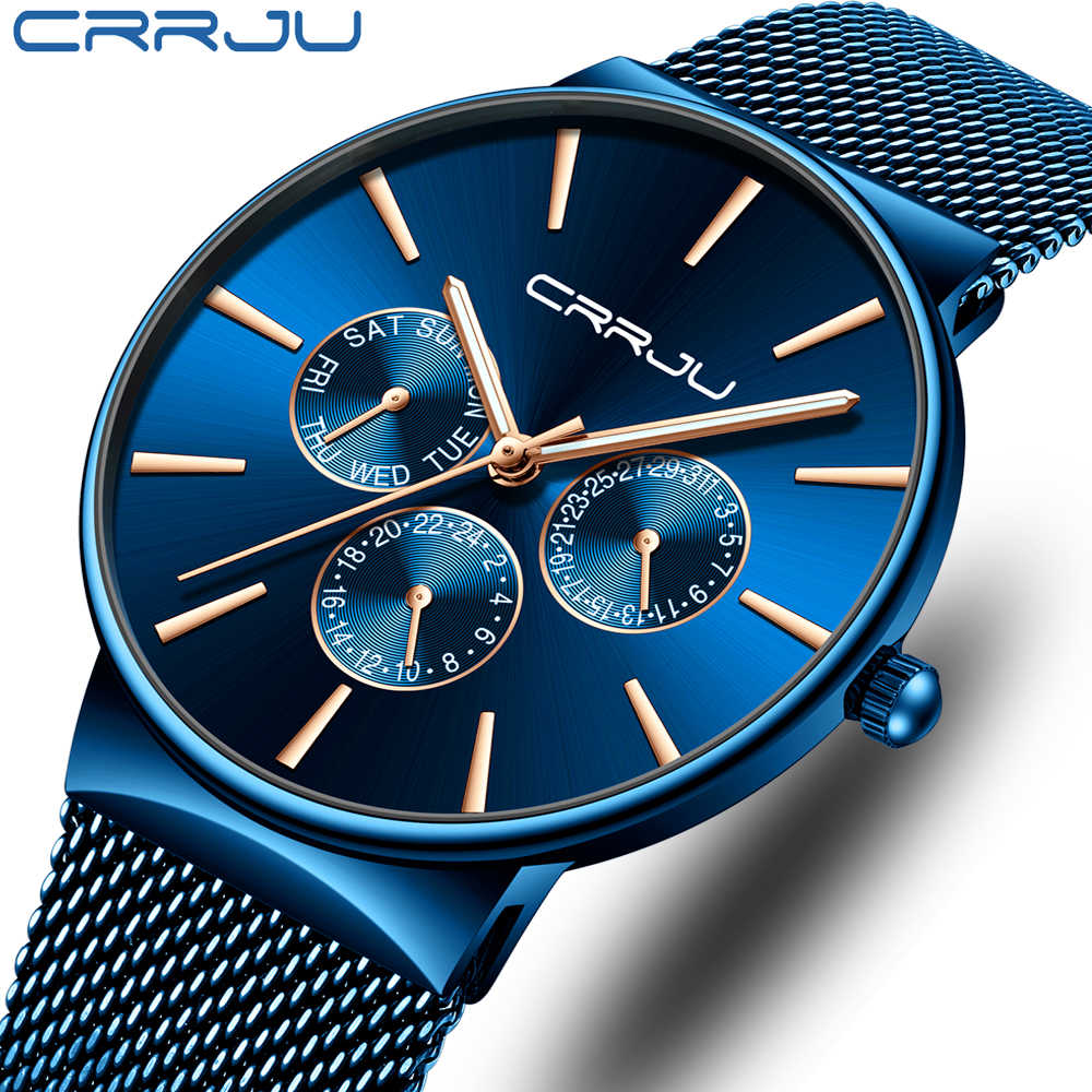 CRRJU Fashion Casual Quartz Men Watch Waterproof Ultra Thin Mens Watches Top Brand Luxury Sports Wrist Watches For Men Clock